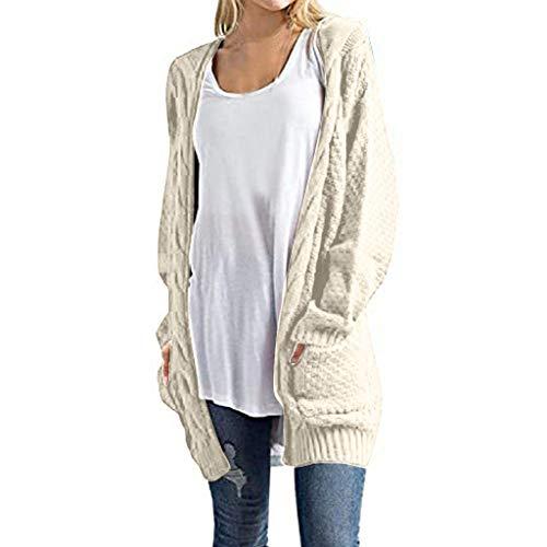 JUTOO Mode Frauen Langarm Strick Winter Cardigan Sweater einfarbig Mantel für Damen (Beige,XL)