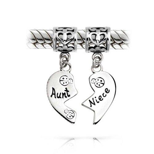 Bling Jewelry BFF Zia Nipote Coccinella Puzzle Pezzo Due Split Forma di Cuore Penzolare Il Fascino del Tallone 925 Argento