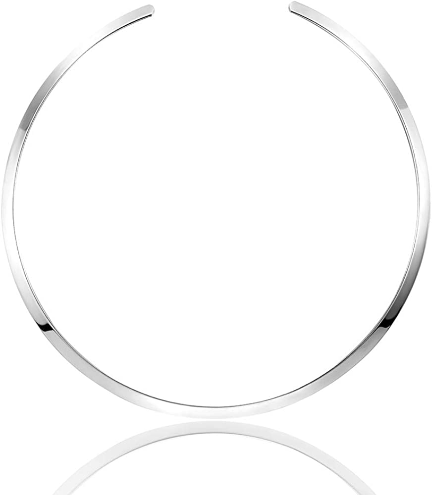 Statement Women Choker Necklace Polished Stainless Steel Chunky Necklace Collar Jewelry