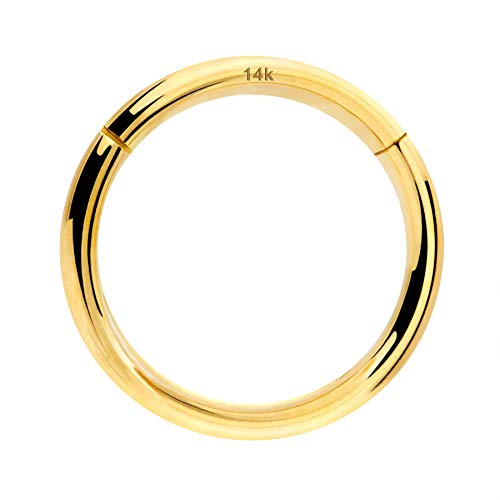 OUFER Body Piercing Nose Hoop Helix Earring 18G 14K Solid Gold Lip Ring Helix Piercing Daith Tragus Septum Ring Cartilage Earring 18G 8MM