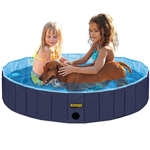 KOPEKS Faltbar und Mobiles Swimming Pool Plantschbecken Hundepool 80 x 20 cm, Klein und Mittel, S, M - Dunkelblau und Hellblau