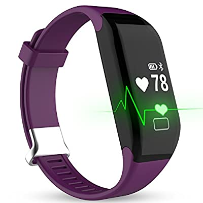 Fitness Watch, Heart Rate Monitor Tracker, Pedometer Bluetooth Sports Bracelet Activity Waterproof Tracker with Steps Counter for Android iOS Smartphone, Hembeer