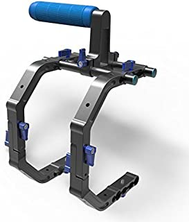 SunSmart Double C Shape Shoulder Support Camera Cage With Top Handle For DSLR Rig Rail System Canon Nikon Sony Panasonic and other Camcorders