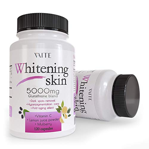 Glutathione Whitening Pills - Dark Spots & Acne Scar Remover - 5000mg - Made in USA - Vegan Skin Bleaching Pills with Anti-Aging & Antioxidant Effect - 120 Capsules