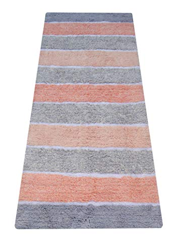 Chardin home Cordural Stripe Bath Runner, Lavender Gray and Coral Pink with Latex Spray Non-Skid Backing, 24' W x 60'' L