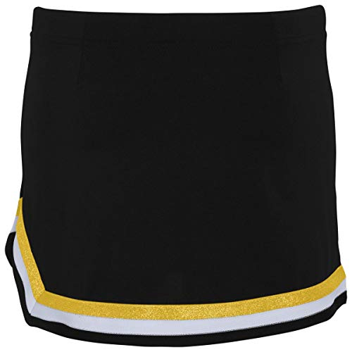 Augusta Sportswear Girls Pike Skirt S Black/White/Metallic Gold