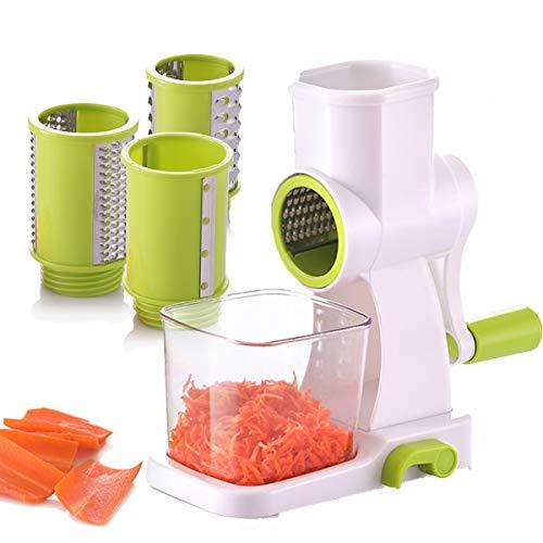 COLFULINE Slicer Multifonction Rappe a Fromage Manuelle Coupe-légumes Coupe-pommes de terre Râpe à carotte Trancheuse avec 3 lames de hachoir Outils de cuisine
