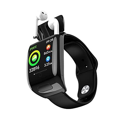 2 en 1 TWS Smart Watch Inalámbrico Bluetooth Auricular BT 5.0 Llamada HD Pantalla Grande de 30 días Smartbatch de Espera (Color : White)