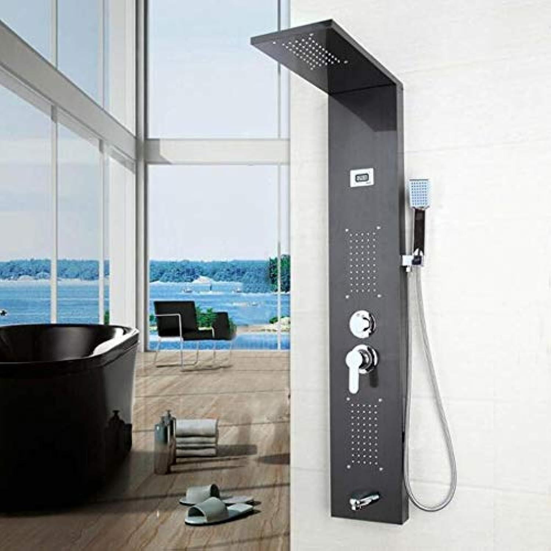 MICHEN Modernes Badezimmer Edelstahl Duschsule Wandmontage Einhand + Handbrause + Wanneneinlauf + Massagesystem Duschpaneel,02