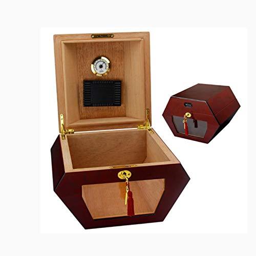 XFYJR Humidor High-End Retro Nostalgische Zigarrenschachtel Vitrine Sechseckige Herren Braun Kreative Geschenk Zigarrenschachtel