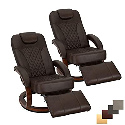 """RecPro Nash 28"""" RV Euro Chair Recliner   Modern Design   RV Furniture   Swivel Base   Recliner Chair (2 Chairs, Chestnut) from RecPro"""