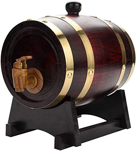 CCLLA Eichenweinfass, 1,5 l praktischer, haltbarer Vintage-Weinfass aus Holz, Eichenholz, auslaufsicheres Eichenweinlager mit Holzständer und Zapfhahn für Whisky Bourbon Tequila Weinessigbier