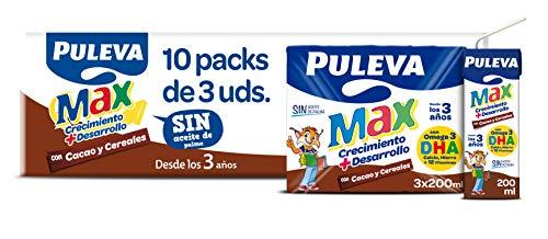 Puleva Max Leche Crecimiento y Desarrollo con Cacao y Cerales - 10 packs de 3 minibriks de 200 ml