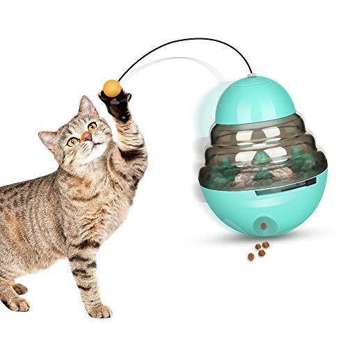 yidenguk Bola de Comida para Gatos con Varita Teaser, Comedero dispensador de Comida para Mascotas Juguete Interactivo para Gatos Cat Treat Ball Ejercicio Pensamiento Mejorar Inteligencia IQ