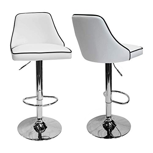 Best Master Furniture Hollie Adjustable Swivel Bar Stool, Set of 2, White