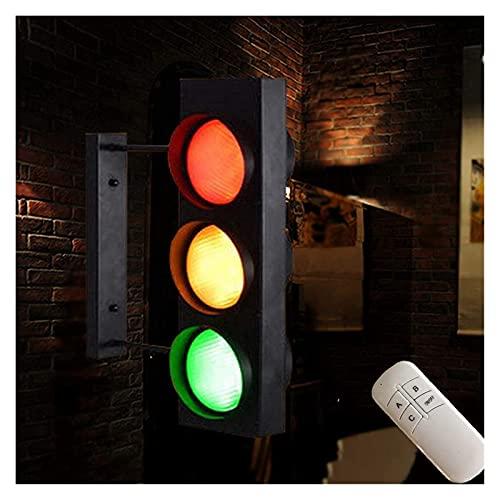 Semáforos LED Lámpara de pared verde roja de advertencia con interruptor de control remoto luz de pared Señal de cruce de peatones con luz Tráfico simulado (Color: B)