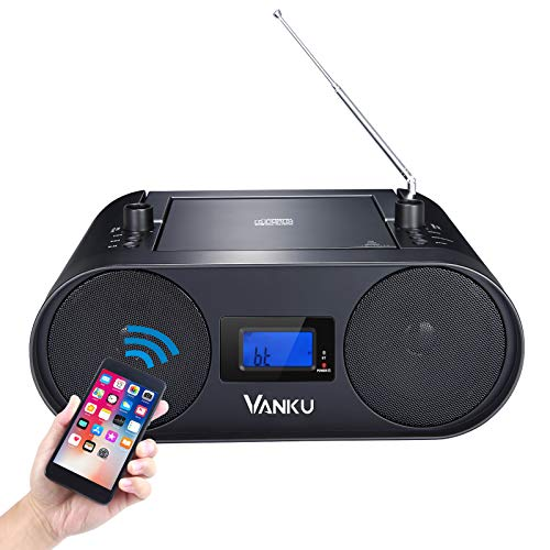 Vanku Radio Boombox CD Player with 2000mAH Battery, Bluetooth 5.0, FM Radio, USB AUX Headphone Slots, MP3, Sleep Timer, Great for Home & Outdoor