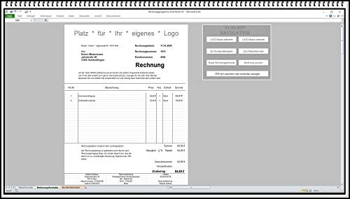 Rechnungssoftware für Kleingewerbe ohne MwSt Rechnungsdruckerei Kleinunternehmer §19 Rechnungsprogramm sehr leichte Bedienung MS Excel APP ohne Folgekosten