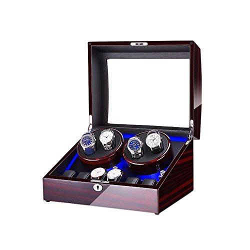 AMAFS Watch Winder Box for 4+6 Automatic Watches, with Blue LED Light, Piano Paint Exterior, 4 Rotation Modes