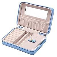 Blue 18*5*13cm Portable Travel Small Jewelry Box Storage Organizer Box With Mirror Inside Velvet Leather Jewelry Box For Women