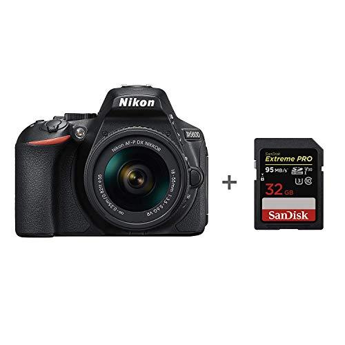 Nikon D5600 + AF-P 18-55 VR DSLR camera, Zwart + SanDisk Extreme PRO 32 GB Geheugenkaart