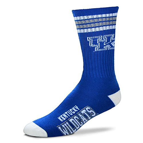 For Bare Feet Mens NCAA 4 Stripe Deuce Crew Socks, Kentucky Wildcats, Large