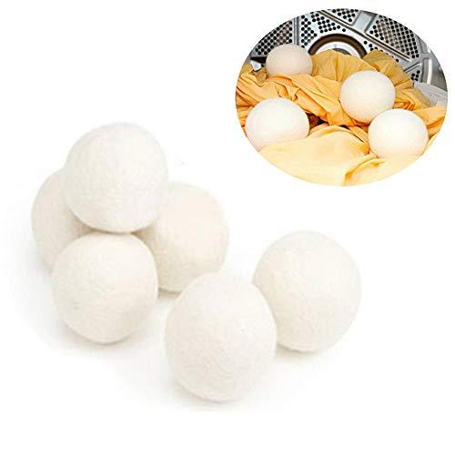 Ywoworld Yworld droogballen - natuurlijke wasverzachter, antistatisch, herbruikbaar, grote droge bol is het betere alternatief voor kunststof bollen, 6 stuks