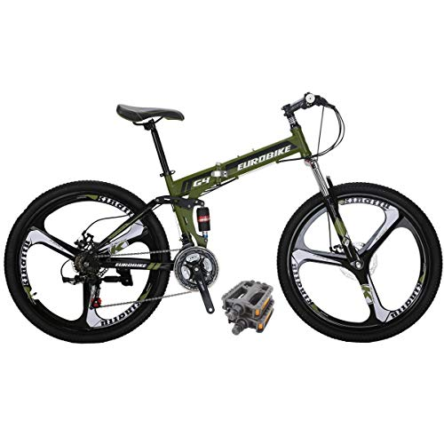 Eurobike Folding Bike HY G4 21 Speed Mountain Bike 26 Inch 3 Spoke Wheel Dual Suspension Folding Bicycle Green