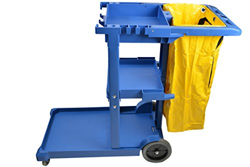 Janico 1050BL Janitor Cart Commercial Housekeeping Utility Cart with 3 Shelfs, 25 Gallon Zippered Yellow Vinyl Bag, Blue, Pack of 1