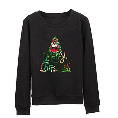 YuanDian Unisex Paar Pärchen Pullover mit Weihnachten Weihnachtsbaum Merry Christmas Gedruckt Sweatshirt Schwarz S
