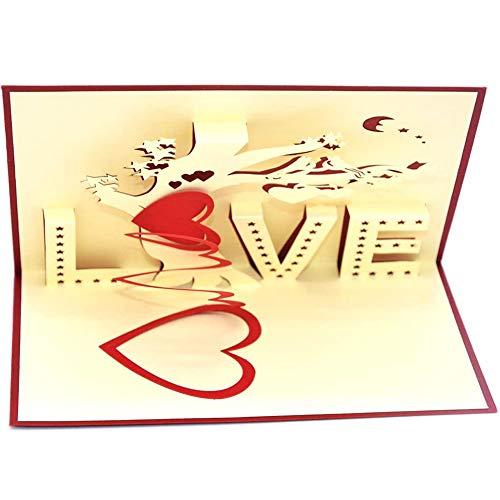 Tarjeta del día de San Valentín-JPYZ tarjeta 3D, tarjeta emergente, tarjeta de aniversario de boda, tarjeta de boda 3D del día de San Valentín con sobre tarjeta romántica