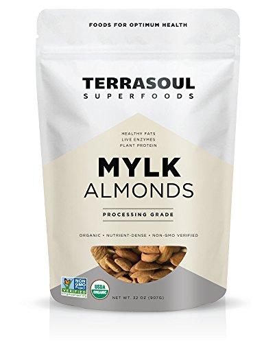 Terrasoul Superfoods Raw Unpasteurized Organic Almonds (Mylk Grade), 2 Pounds