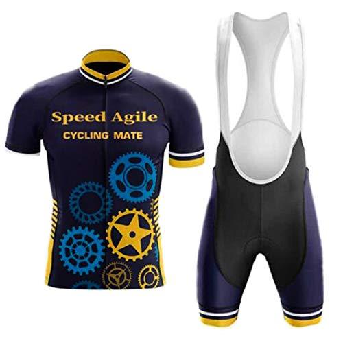 YSYFZ Sport all'Aria Aperta Tuta da Jogging Abbigliamento Sportivo da Ciclismo a Maniche Corte Jersey + Pantaloncini Traspiranti e ad Asciugatura Rapida Primavera/Estate/Autunno