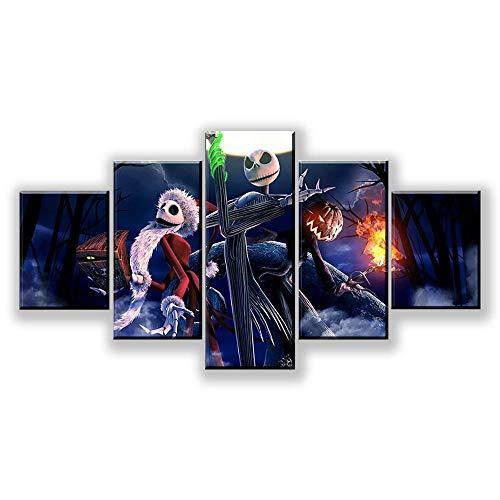 WUXI Leinwanddrucke 5 Stück Leinwand Alptraum Modulare Bilder 5 Panel Leinwand Rahmen Gemälde Wandkunst Poster und Drucke Drucke auf Leinwand
