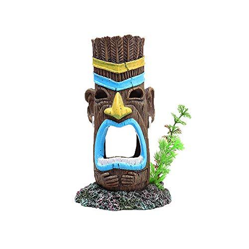 Aquarium Ornament Mayan Aboriginal Totem Landscaping Fish Tank Aquarium Decoration Creative Ornament Resin Fish Tank Decoration (Color : Painted, Size : 7x7.5x12.5cm)