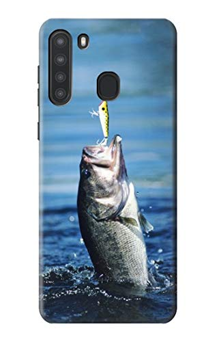 R1594 Bass Fishing Case Cover for Samsung Galaxy A21