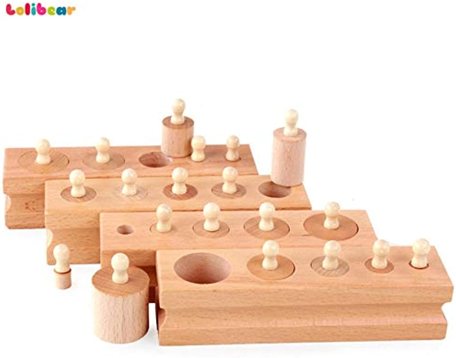 Laliva Montessori Wooden Cylinder Socket Blocks Toy Baby Practice Senses Shape Paired Educational and Development Toys for Early Kids