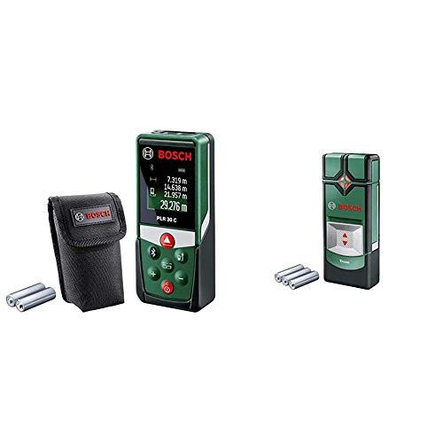 Bosch Laser Entfernungsmesser PLR 30 C (App Funktion, 3x AAA Batterien, Schutztasche, Messbereich: 0,05 - 30 m) + Ortungsgerät Truvo (max Ortungstiefe Stahl/Kupfer/Stromleitung: 70/60/50 mm, in Dose)