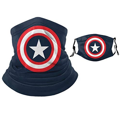 2pcs Face Cover Neck Gaiter Multifunctional Captain Hero America Face Mask Headwear Bandana Balaclava for Men Women