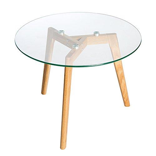 Invicta Interior Echt Eiche Couchtisch Scandinavian Oak Edelstahl Glas Beistelltisch Tisch Holztisch Glasplatte