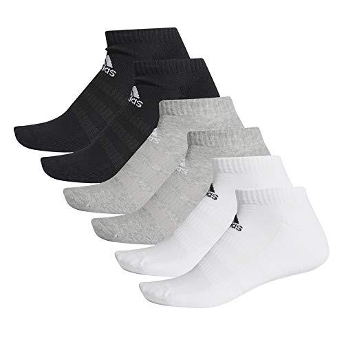 adidas Socken 6 Paar Cush Low No Show, Top:Medium Grey Heather/white Bottom:black, S, DZ9380