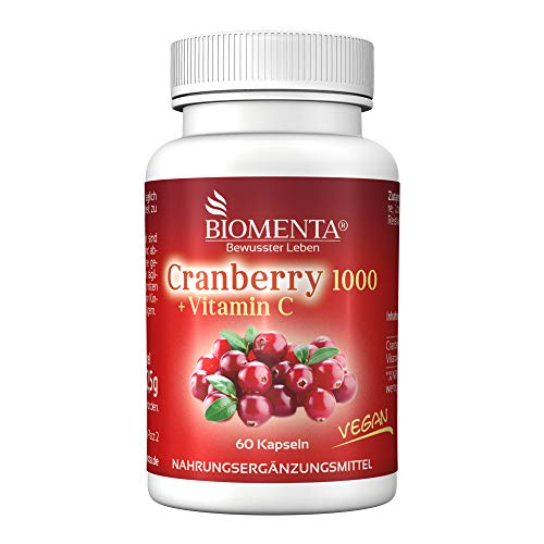 BIOMENTA Cranberry 1000 + Vitamin C – mit 1.000 mg Cranberry Extrakt + 500 mg Vitamin C pro Tag – Cranberry hochdosiert & vegan - 60 Cranberry Kapseln