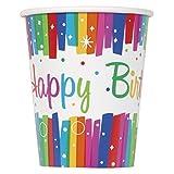 Unique Party- Vasos de Papel Fiesta de Cumpleaños de Franja, 8 Unidades, Multicolor, 266 cm (49566) , color/modelo surtido