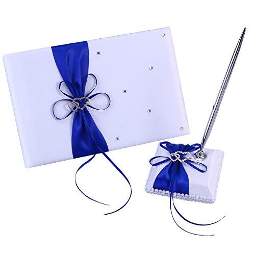 BESTOYARD Hochzeit Gästebuch und Pen-Set Satin Bögen Signatur Buch mit Stift für Hochzeit Dekorationen (blau)