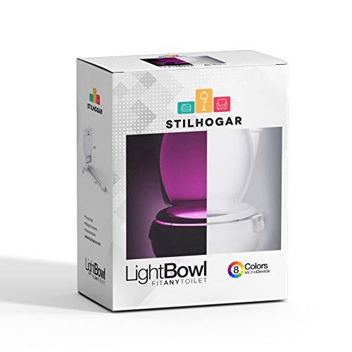 Stilhogar Luz Nocturna led para Inodoro con Sensor de Movimiento. Luz de WC (Toilet Light). Luz de Vater led WC con detección Movimiento y 8 Colores Diferentes.