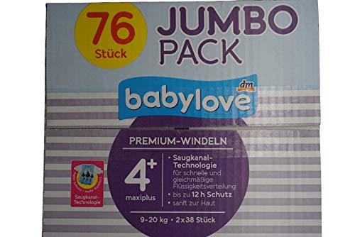 babylove Windeln Premium aktiv plus Größe 4+, maxiplus 9-20kg, Jumbo Pack 2x38 Stück, 1 x 76 St