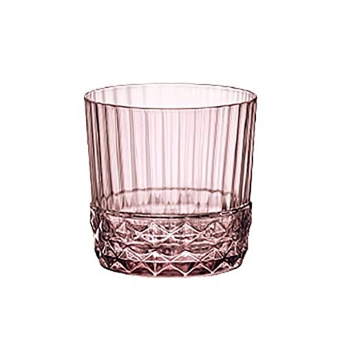 Tazas de Vidrio,Taza de Agua Transparente Gran Capacidad para el Hogar, Jarro Cerveza,Taza Leche,Taza Jugo Adecuado para Hoteles, Restaurantes,Empresas, Hogares (Color : Pink, Size : 400ml)