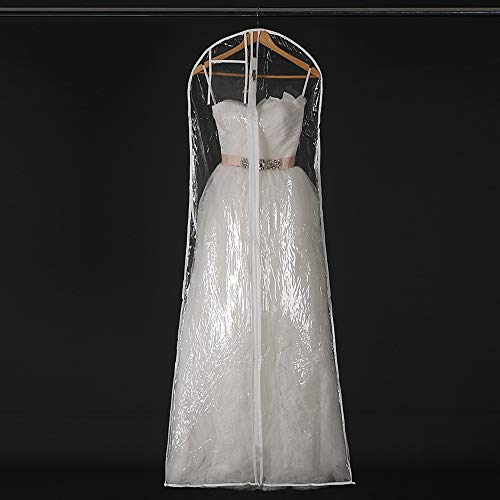 180cm/71inch Wedding Gown Gusseted Garment Bag Bridal Long Dress Storage Protector Cover for Prom Evening Gowns