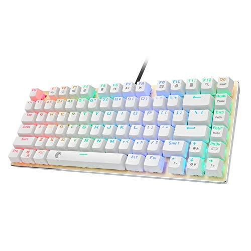 Z-88 Kleine Mechanische Tastatur, DIY Schalter mit RGB LED-Beleuchtung, Kompakte 81 Tasten US-Layout Keyboard (QWERTY) (Outemu Blue, Roségold)