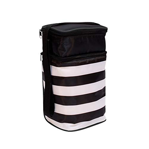 J.L. Childress 6 Bottle Cooler, Insulated Breastmilk Cooler and Lunch Bag for Baby Food and Bottles, Leak-Proof and Heat-Sealed, Ice Pack Included, Black Stripe